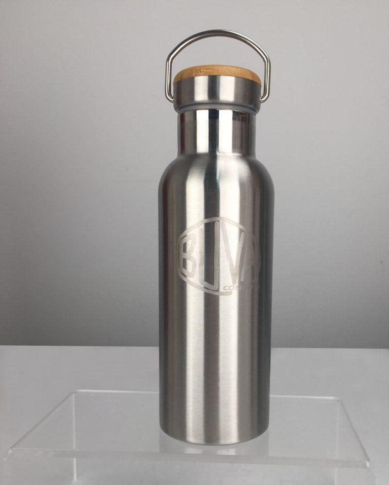 Botella termo de acero inoxidable y detalles de bambu bambú